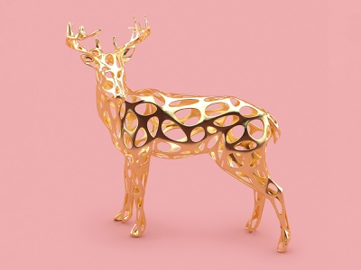 Golden deer 🦌 octanerender octane gold cgi creative market rose gold 3d illustration christmas 3d art 3d cinema4d c4d illustration deer golden