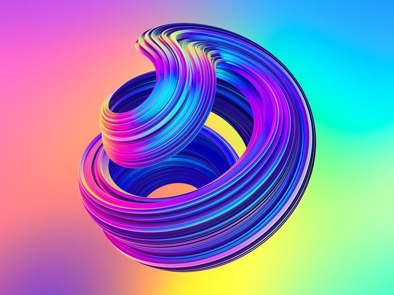 Awesome Twisted Shapes #3 twisted fluid liquid neon shapes holographic 3d illustration 3d art creative market octanerender octane cgi 3d cinema 4d cinema4d c4d