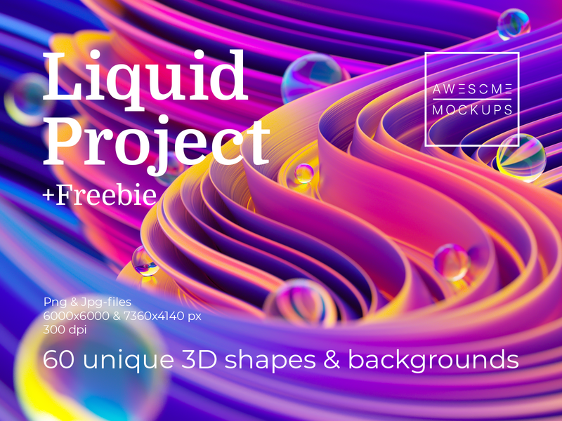 Liquid Project discounts sale bundle creative market shape octanerender octane 3d art 3d illustration cinema4d c4d 3d ultraviolet neon holographic fluid background waves shapes liquid