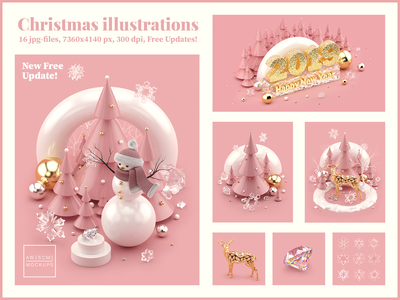 Rose Gold Christmas 3D illustrations living coral livingcoral sale discount deer snowman 3d illustration 3d art creative market octanerender octane cinema 4d cinema4d c4d rose gold illustrations 3d christmas