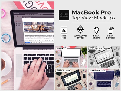 MacBook Top View Responsive Mockups