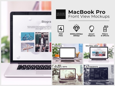MacBook Front View Mockups