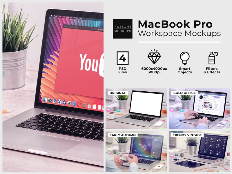 Macbook Workspace Mockups