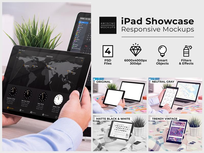 iPad Showcase Responsive Mockups app desktop desk office presentation showcase ux ui ipad pro ipadpro ipad psd mockup psd mockup psd mock up mockups mock-up mockup awesomemockups