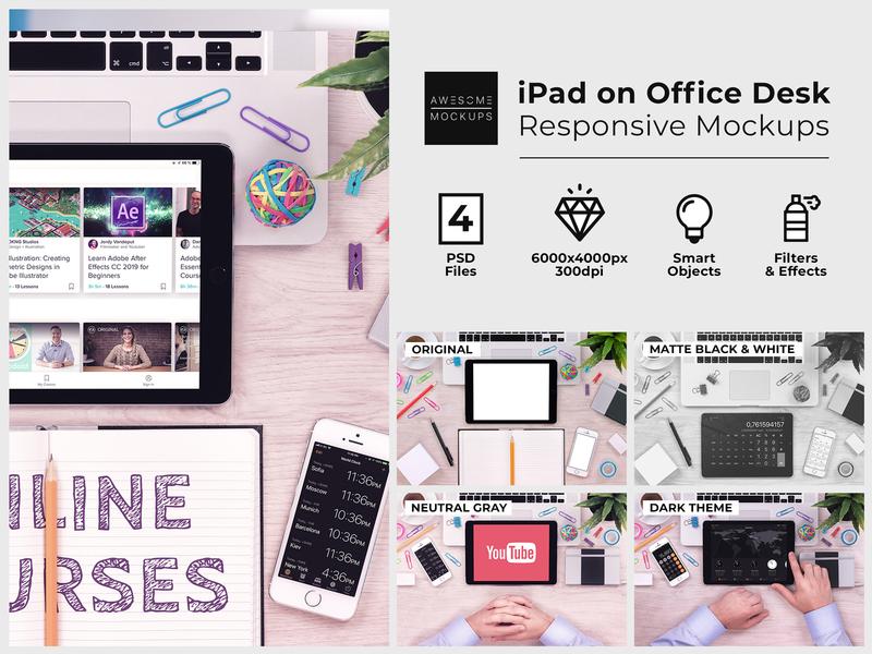 iPad on Office Desk Top View Mockups presentation template presentation showcase ipad app ipad pro ipadpro ipad macbook mockup macbookpro macbook psd design psd template psd mockup psd mockup psd mock up mockups mock-up mockup awesomemockups