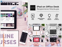 iPad on Office Desk Top View Mockups