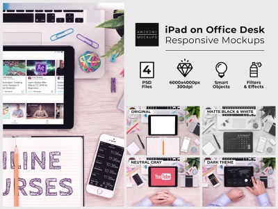 iPad on Office Desk Top View Mockups presentation template presentation showcase ipad app ipad pro ipadpro ipad macbook mockup macbookpro macbook psd design psd template psd mockup psd mockup psd mock up mockups mock-up mockup awesomemockups