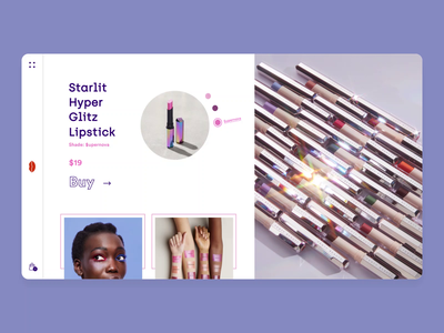 Makeup and Cosmetics - Product Page web design web homepage product website imagery animation 2d motion design motion uiux design blue gif interaction animation cosmetics makeup uidesign ux ui
