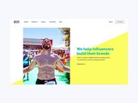 Influencer Marketing homepage web design