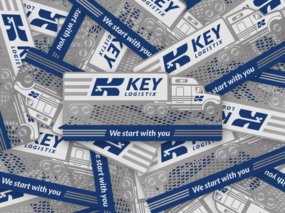 Key Logistix Business Cards stationary branding trucking metal business cards