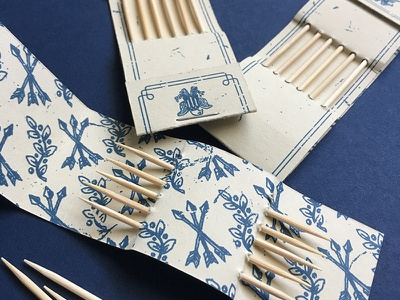Colonial Toothpick Holders french paper toothpicks colonial packaging print