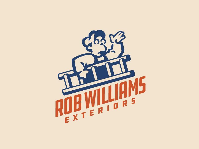 Rob Williams Exteriors Logo gutters ladder construction branding logo