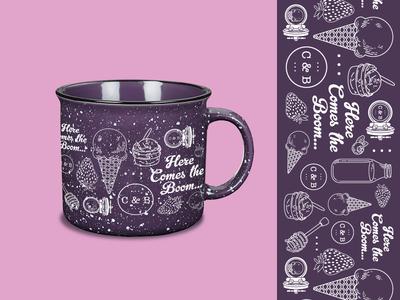 Crank & Boom Mug small business pattern illustration promotional product mug