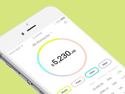 hardbacon - dashboard pie finance fintech ui ux mobile app