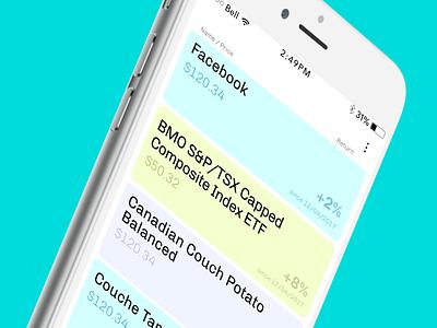 hardbacon - watchlist fintech pastel data stock market finance ux ui mobile app