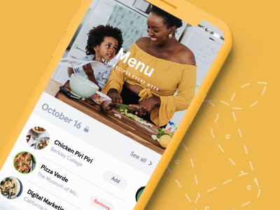 Cook it horizontal scroll yellow food ui mobile app