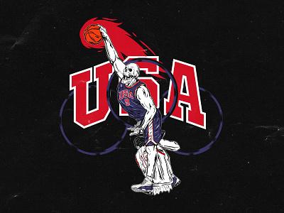 Dunk of Death illustration jersey basketball skull dunk olympics nba