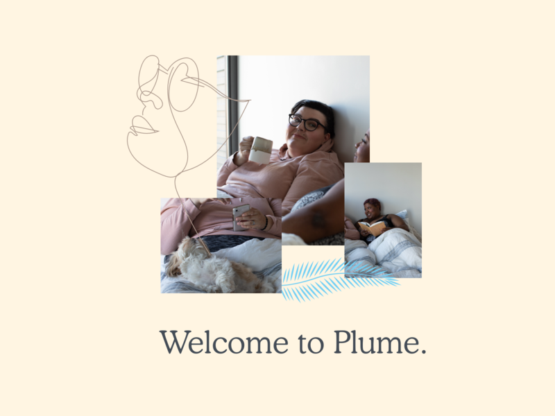 Plume story illustration branding remote health healthcare trans queer