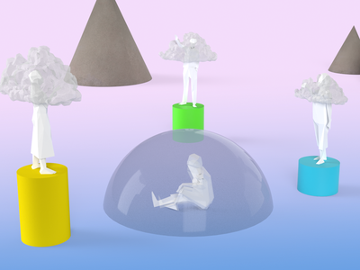 Everybody knows everything research science mental health editorial illustration 3d
