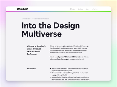 DocuSign PX Multiverse Website event branding conference webdesigner uxdesign docusign webdesign website