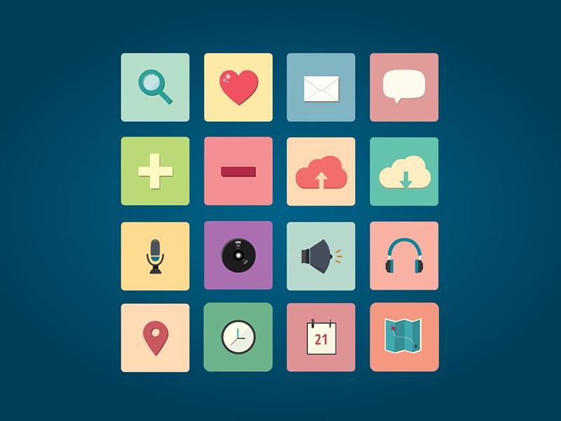 Free Icon Set Pack vol. 1 flat icon pack set free freebie vector