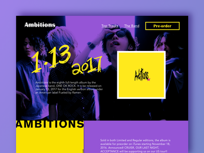 Concept of a landing page for OOR's new album ui daily