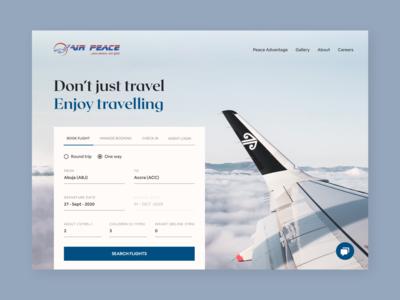 Air Peace Concept uidesigner travel website air travel uiuxdesigner