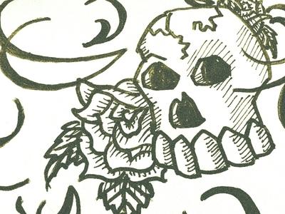 Skull october spooky scary halloween rose marker ink doodle sketch skeleton skull