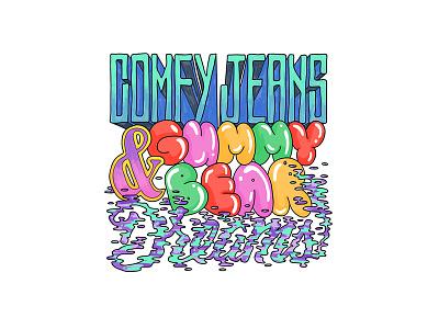 Comfy Jeans & Gummy Bear Dreams gummy bear hand letter dreams jeans typography type sketch script lettering font doodle colorful