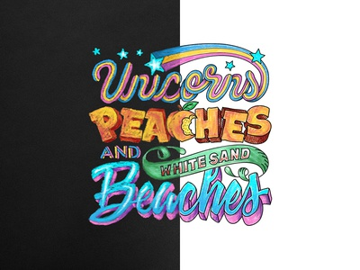 Unicorns Peaches and White Sand Beaches hand letter peach typography type sketch script lettering chalk beach unicorn font doodle