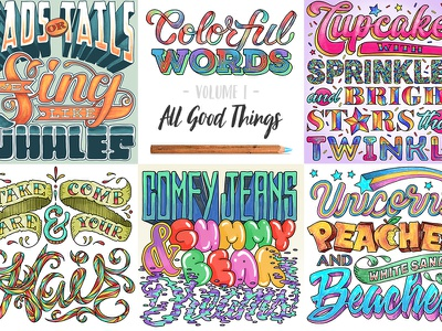 Colorful Words: All Good Things   Digital Coloring Book book therapy calm relax whale unicorn cupcake script hand-letter lettering