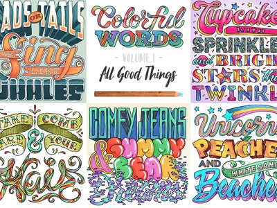 Colorful Words: All Good Things | Digital Coloring Book book therapy calm relax whale unicorn cupcake script hand-letter lettering