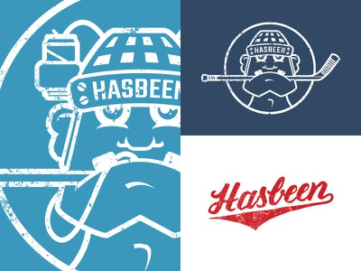 Hasbeen logo vintage typography type sports script lettering hockey has-been hasbeen jersey badge