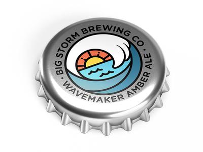 Wavemaker Amber Ale florida nautical ocean sunset sun wave cap bottle bottlecap brewery ale beer