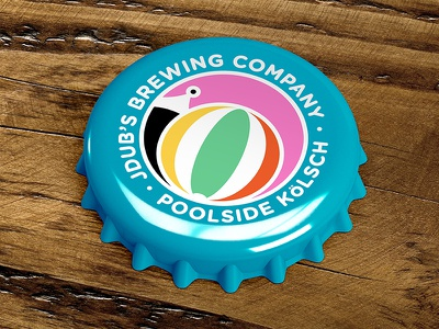 Poolside Kölsch florida pool flamingo beachball beach brewery bottlecap bottle kolsch beer