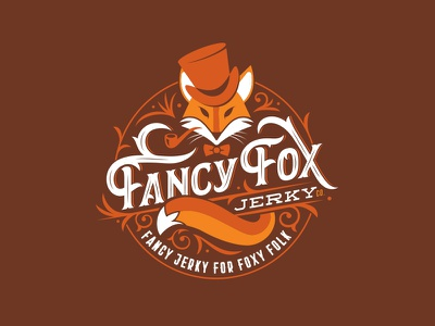 Fancy Fox Jerky retro type typography lettering ornate logo bowtie badge jerky fox fancy