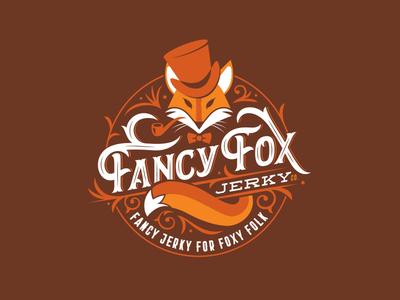 Fancy Fox Jerky retro type typography lettering ornate logo bowtie badge jerky fox fancy