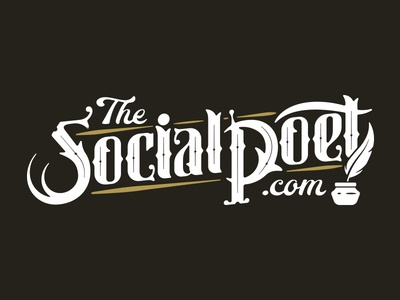 The Social Poet typography script gothic lettering feather words books literature writing poetry poet