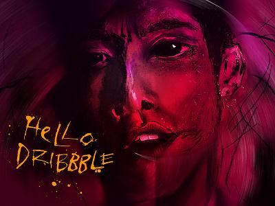 Hello Dribbble Shot Debut dark horror digital art drawing lettering design illustration