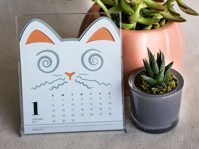 Cat of the Month Calendar: Drunk Cat packaging new year 2017 january print desk cute illustration cats kitty die-cut