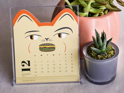 Cheeseburger Cat – Cat of the Month Calendar design packaging cute die-cut illustration cats cat calendar