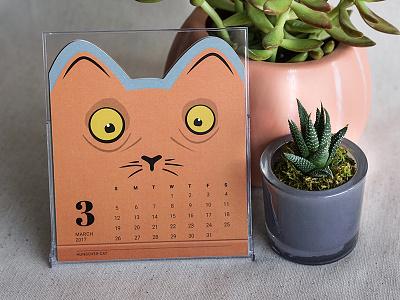 Hungover Cat – Cat of the Month Calendar 2017 calendar die-cut illustration kitty drunk cat