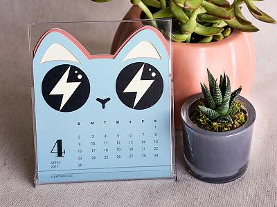 Lightning Cat – Cat of the Month Calendar 2017 calendar desktop die-cut diecut colorful kitty cat illustration