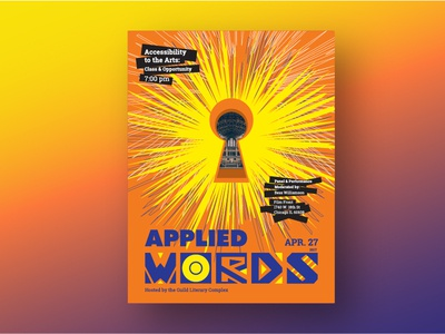 Applied Words // Apr. 2017 purple bright orange expressive art design poster