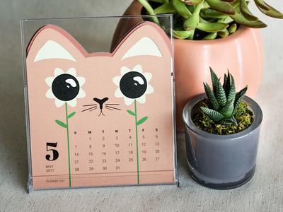 Cat of the Month Calendar: May calendar dieline flower illustration cat kitty desktop
