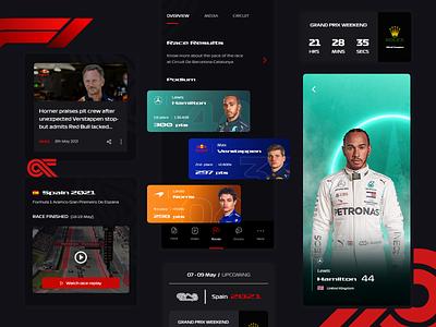 Formula One App Concept ui designs driver profile dashboard design studio darkui formula 1 driver automotive cars darkmode circuit race motorsports design concept f1 racing sports mobileapp
