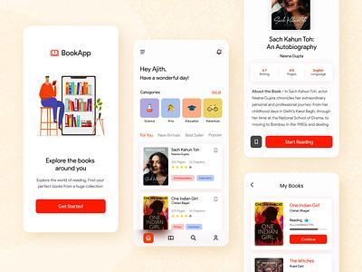 BookApp - The Book Reading App concept app visual design ux design user experience book app book reading mobile design mobile ui ui adobe xd design rapidgems design studio