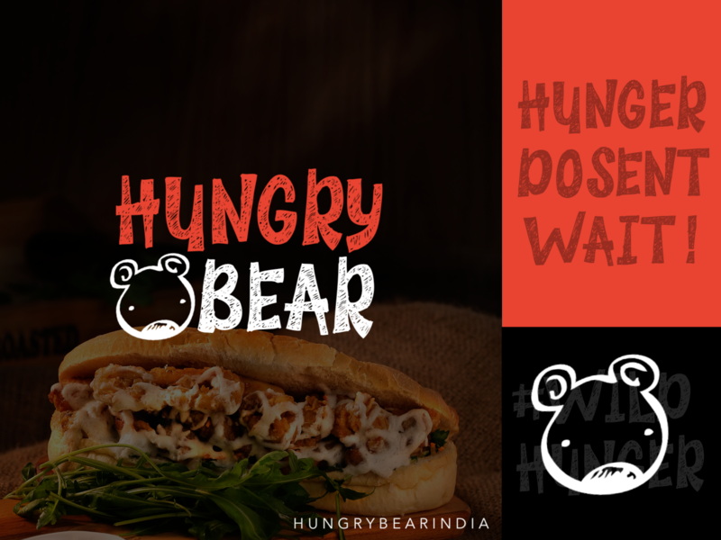 Hungry Bear Resturant Branding black icon flat branding vector hungry bear hungry food typography logo bear logo red and black red bear resturant