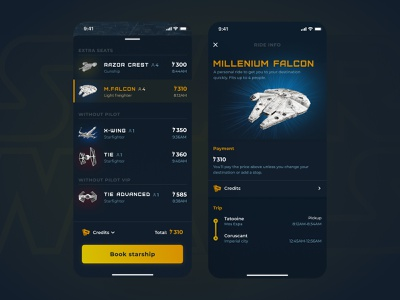 Starship taxi figma ui ios design app