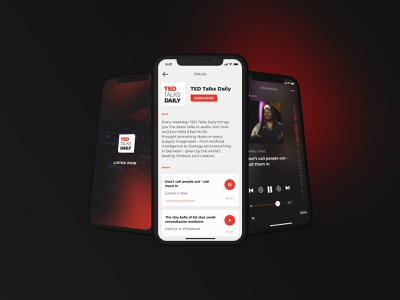 Media player for podcasts ios ux ui design app
